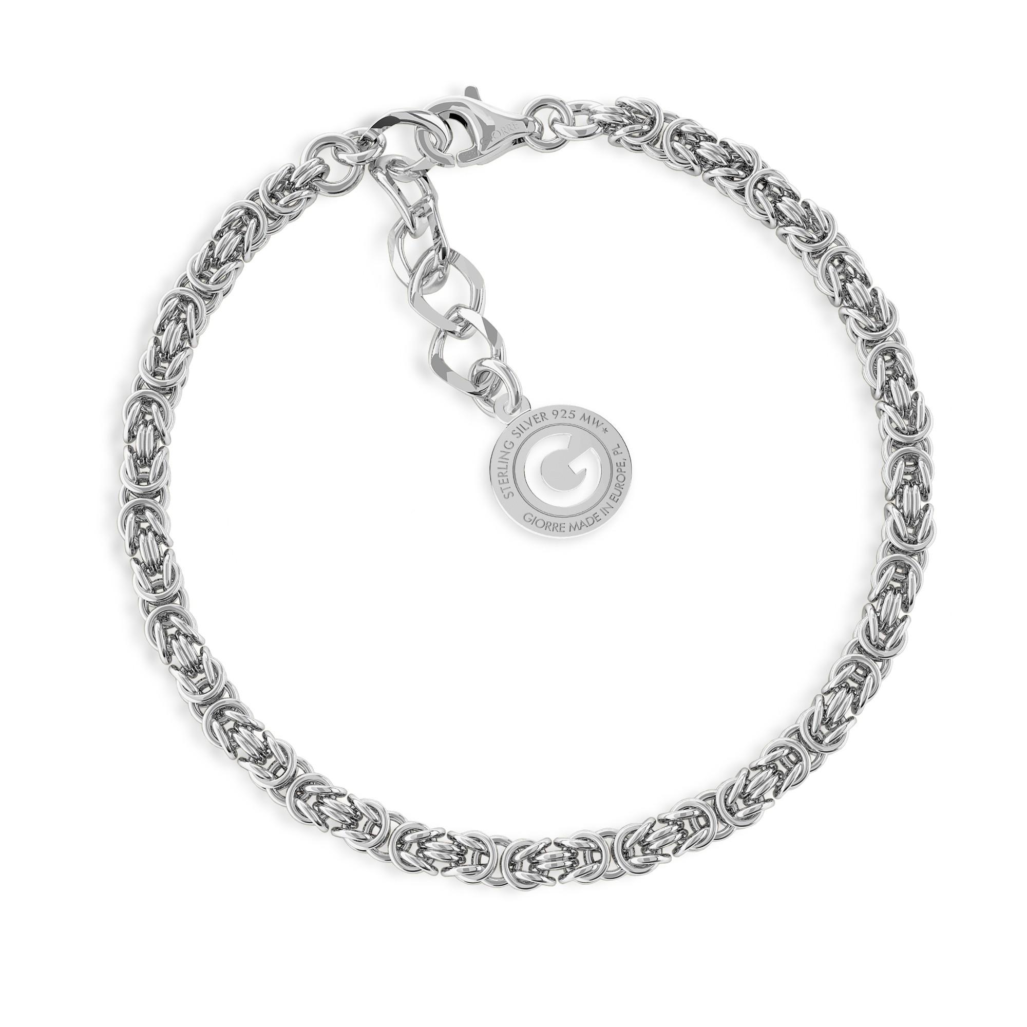 Ręcznie składana bransoletka splot królewski, bizantyna srebro 925