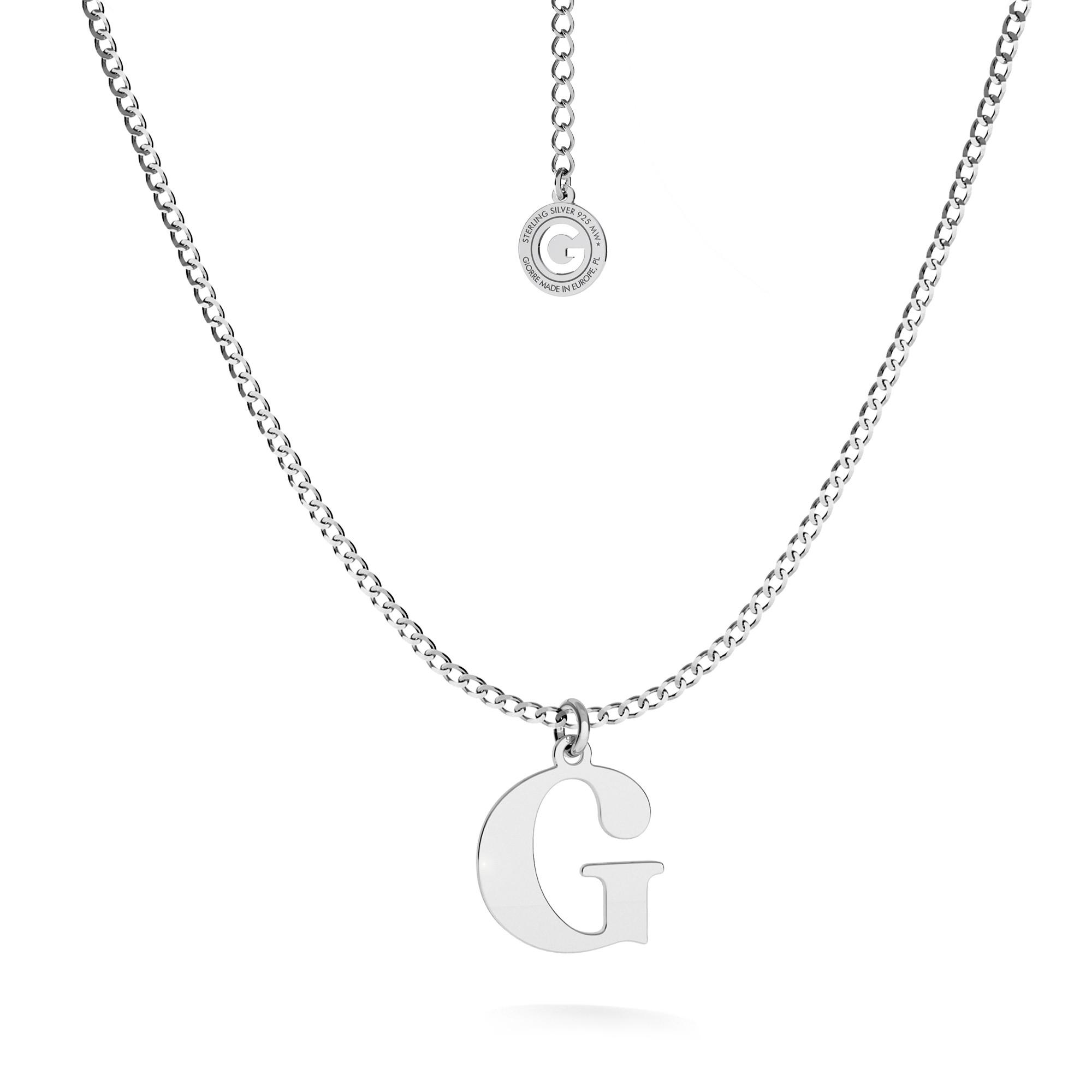 Srebrny naszyjnik z literką, alfabet, srebro 925