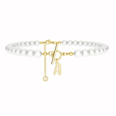 Girocollo di perle con lettera MON DÉFI argento 925