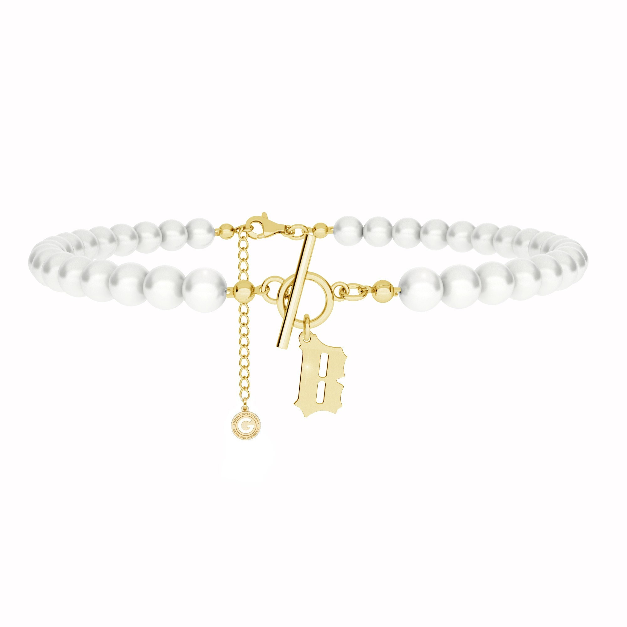 Pearls choker with your letter MON DÉFI, Silver 925