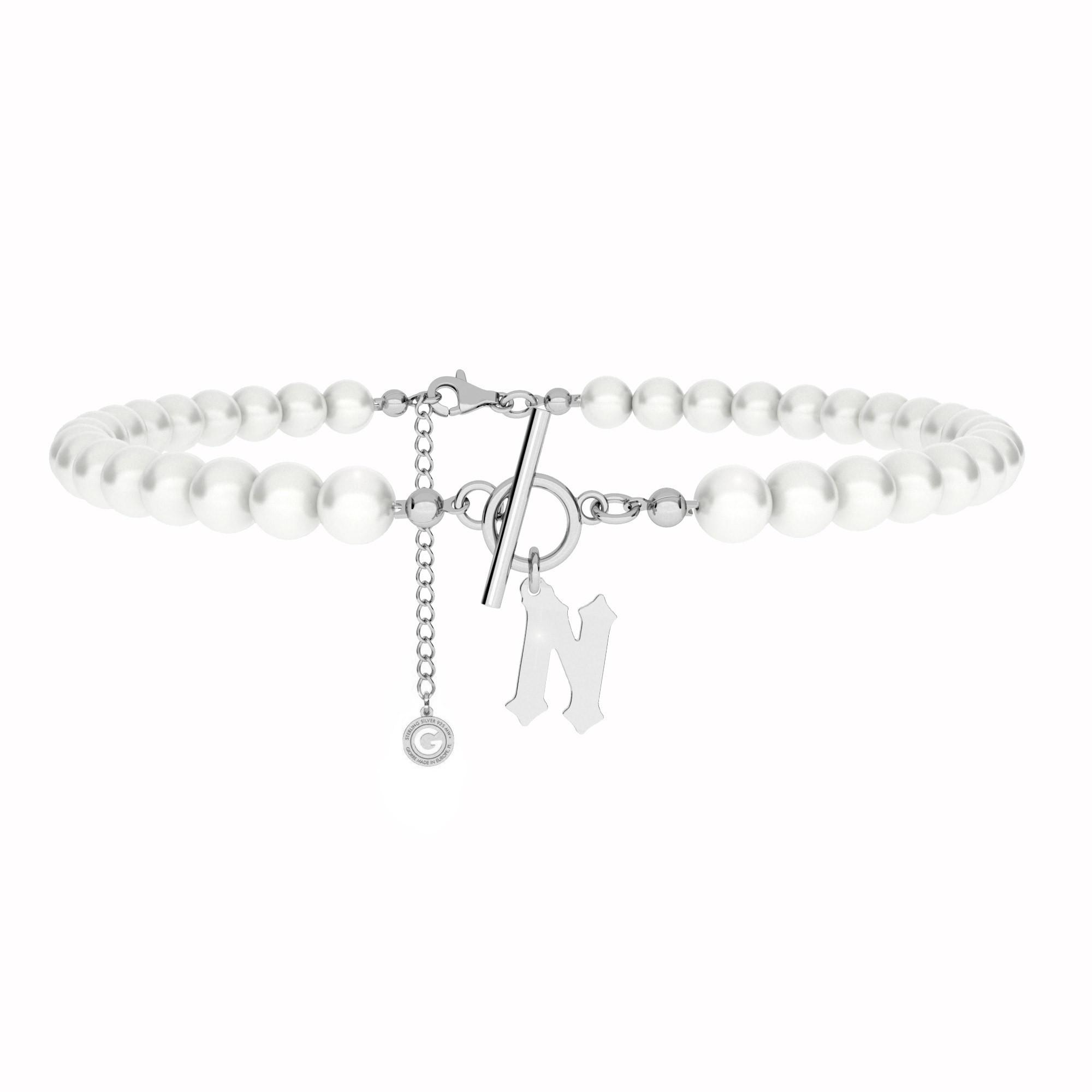 Perlenhalsband mit brief MON DÉFI sterling silber 925