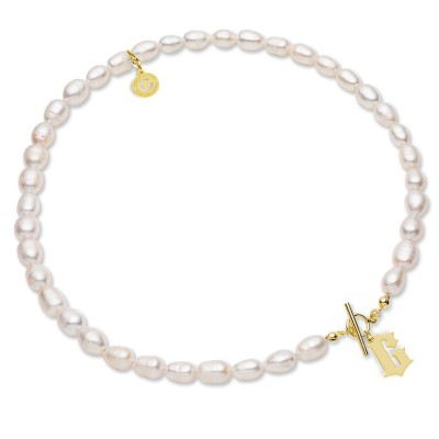 White natural pearls choker with your letter, Silver 925