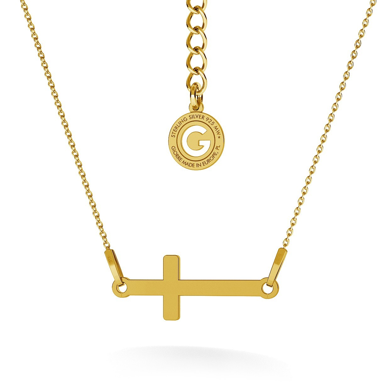 HORIZONTAL CROSS NECKLACE, RHODIUM OR 18K GOLD PLATED, RHODIUM OR 18K GOLD PLATED