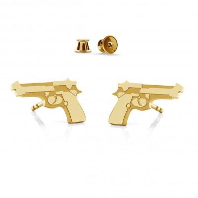 Kolczyki pistolet beretta, srebro 925
