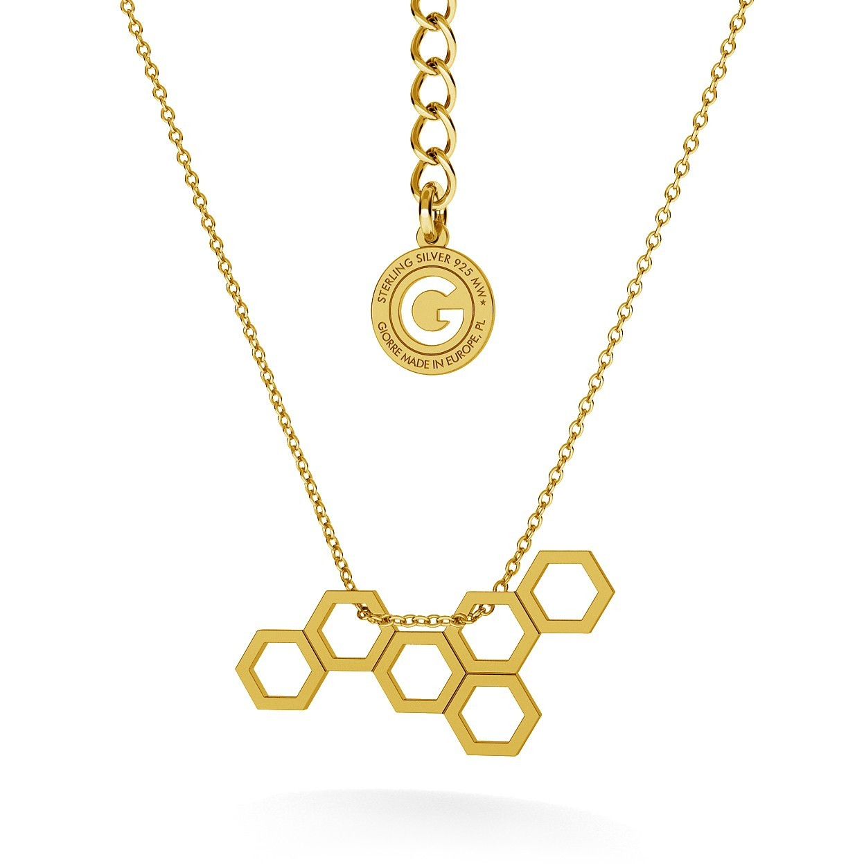 HONEYCOMB NECKLACE,  RHODIUM OR 18K GOLD PLATED,  RHODIUM OR 18K GOLD PLATED
