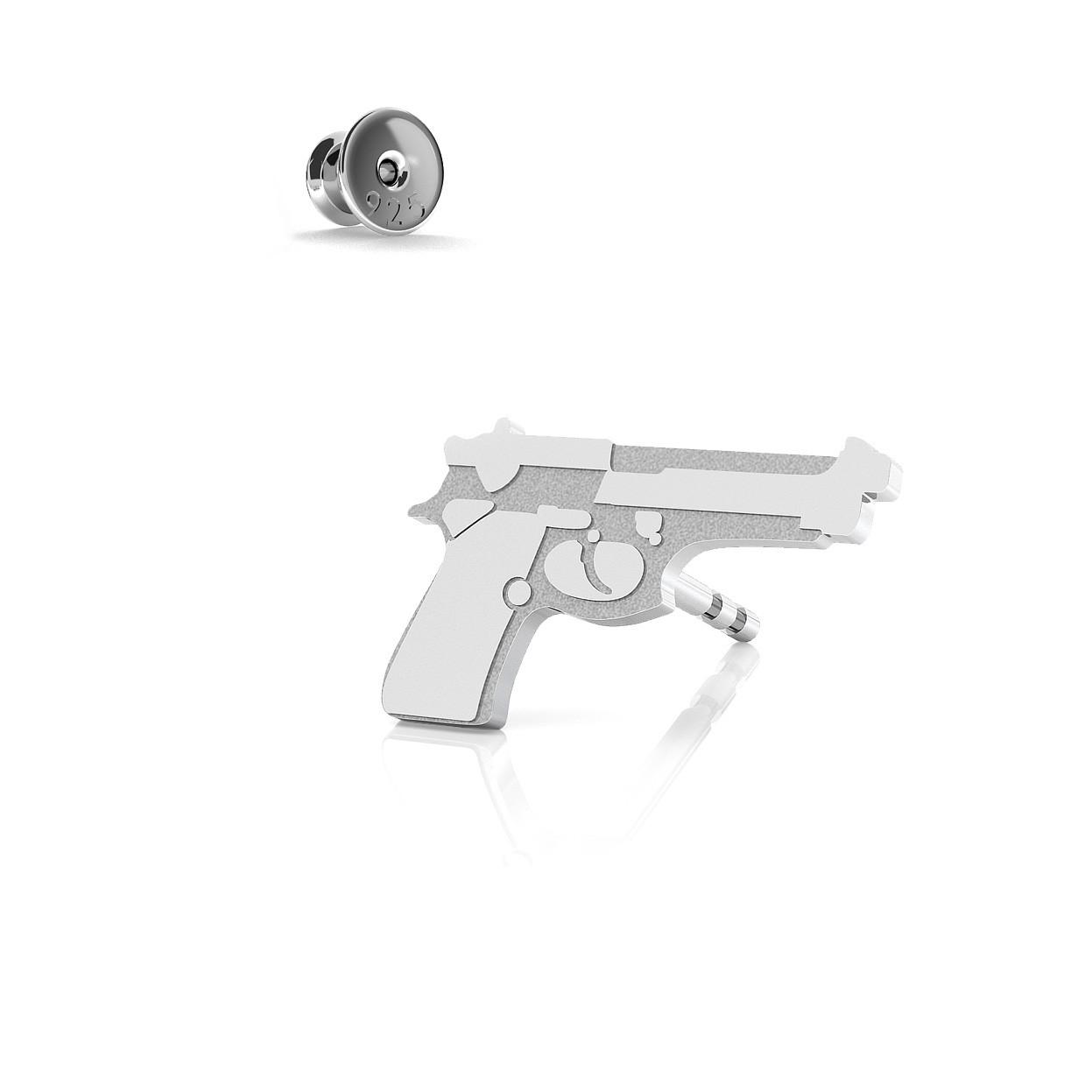 Męski kolczyk pistolet beretta, srebro 925