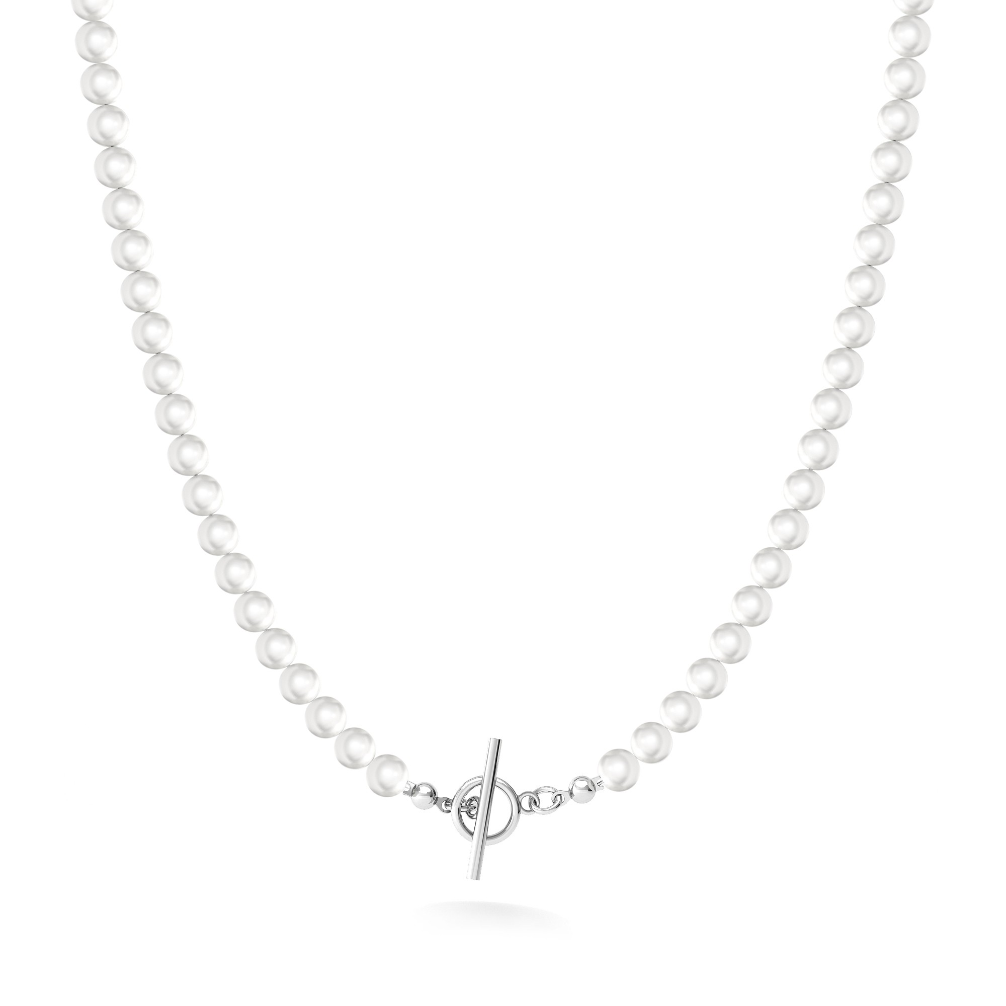 White pearls choker charms baseSilver 925