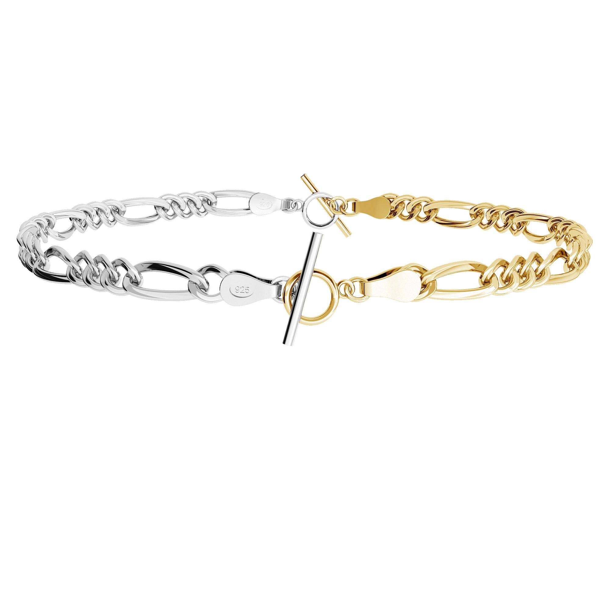 Choker lub bransoletka z dwóch łańcuszków figaro, srebro 925