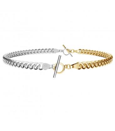 Choker lub bransoletka z dwóch łańcuszków typu pancerka, srebro 925