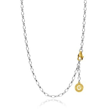 Sterling silver necklace 55-65 cm light rhodium, yellow gold clasp, link 6x4 mm
