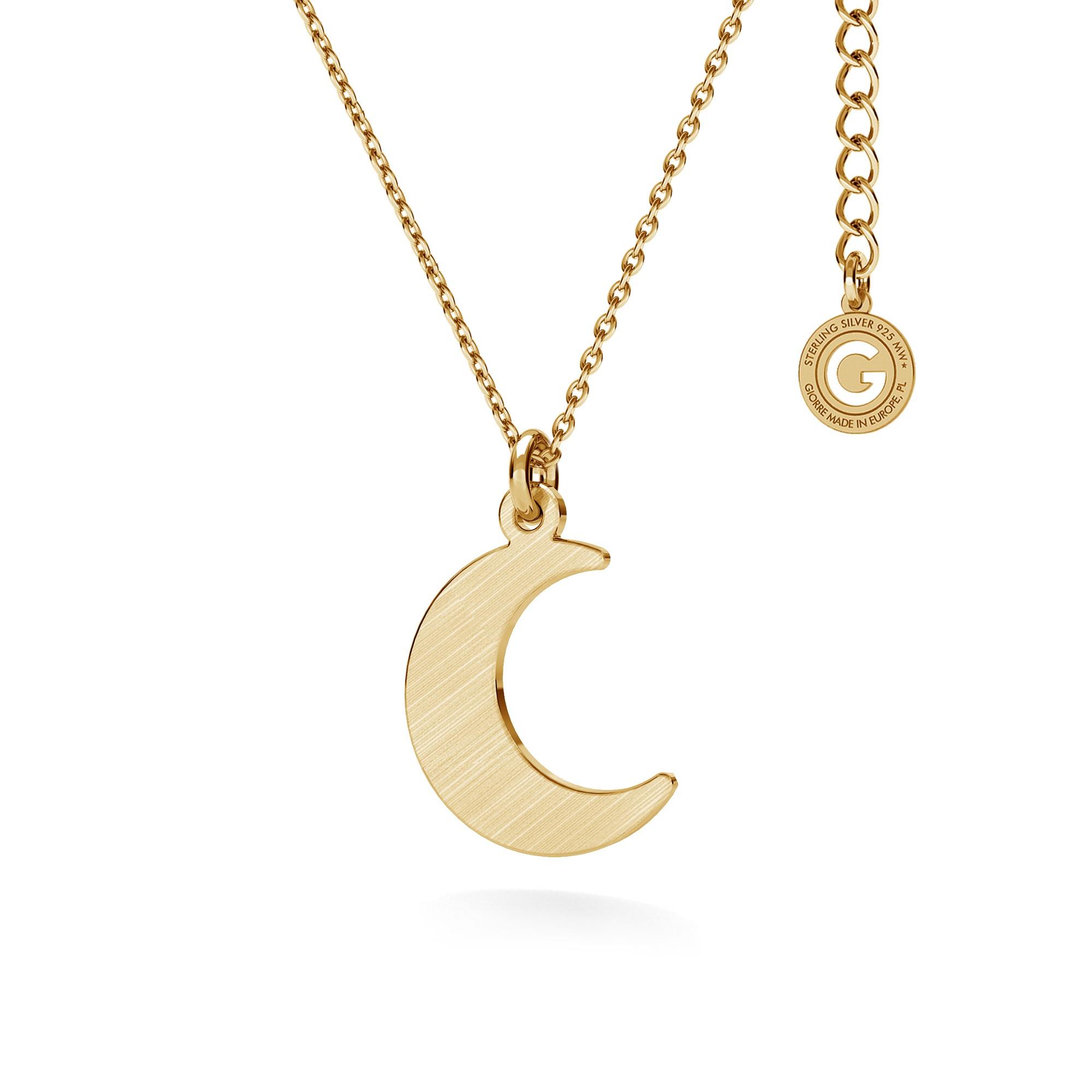Srebrny naszyjnik mały księżyc, srebro 925 satynowane