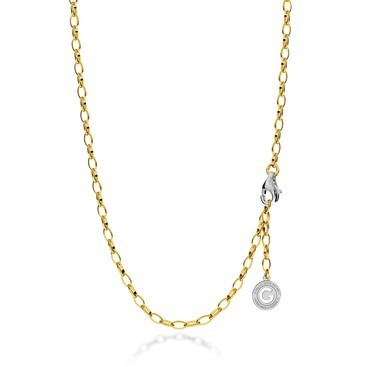 Collier en argent 55-65 cm or jaune, fermoir rhodium clair, lien 6x4 mm