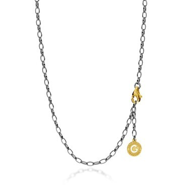 Sterling silver necklace 55-65 cm black rhodium, yellow gold clasp, link 6x4 mm