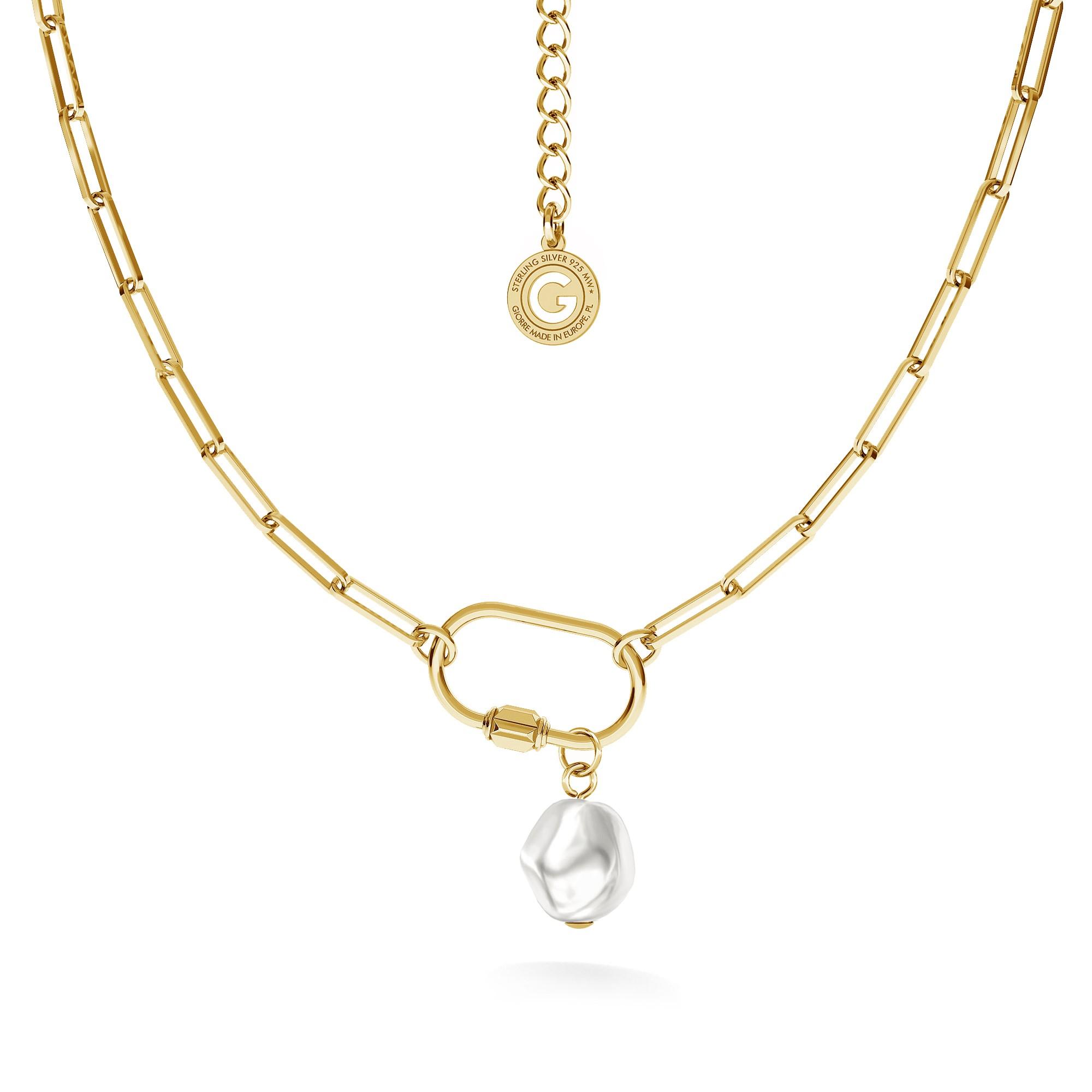 Srebrny naszyjnik z perłą, srebro 925
