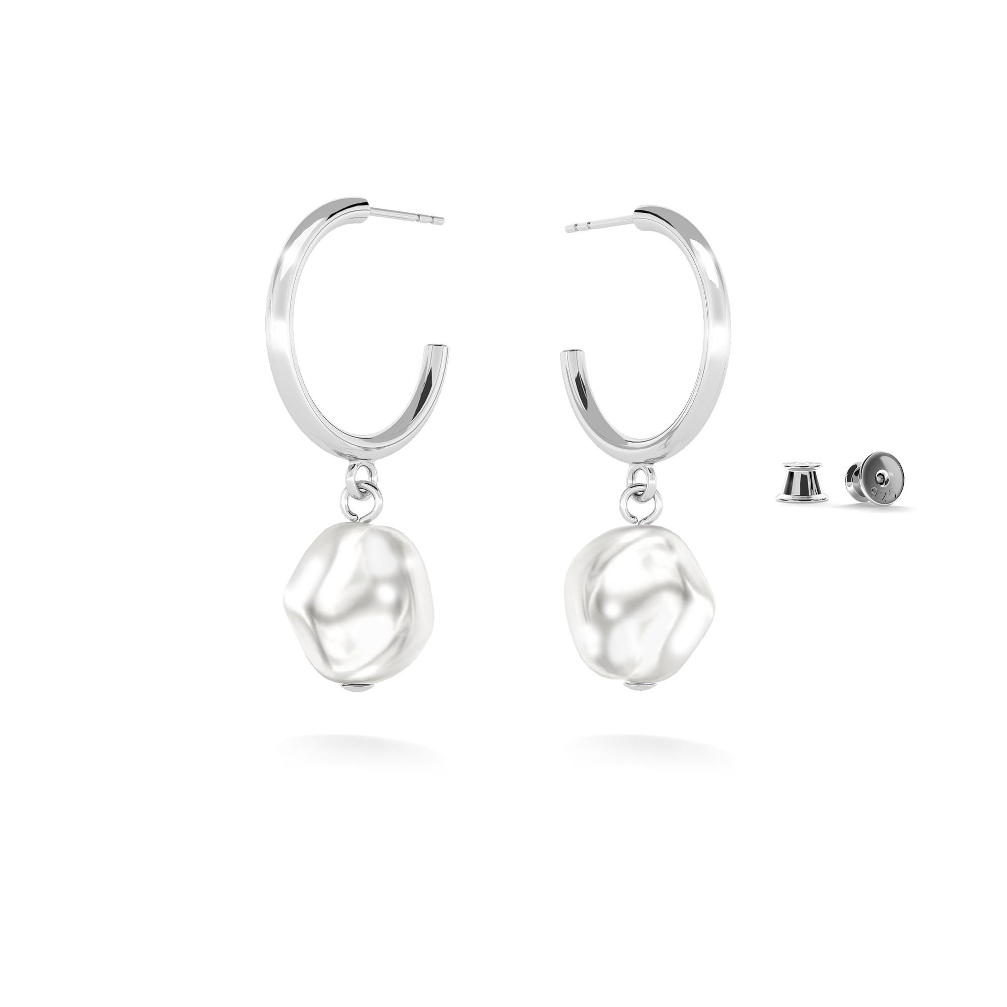 Hoop earrings with irregural pearl, sterling silver 925