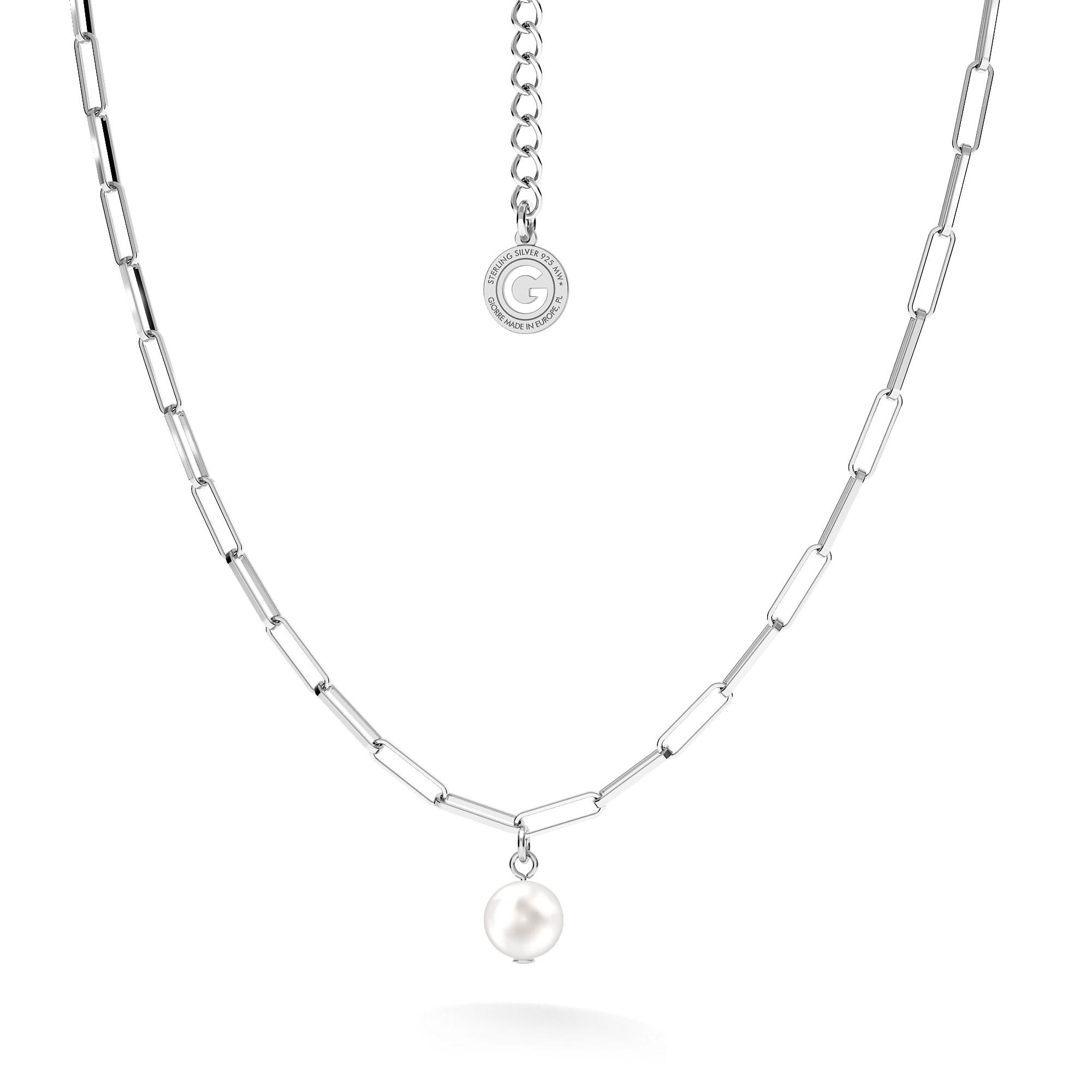 Srebrny naszyjnik z okrągłą perłą, srebro 925
