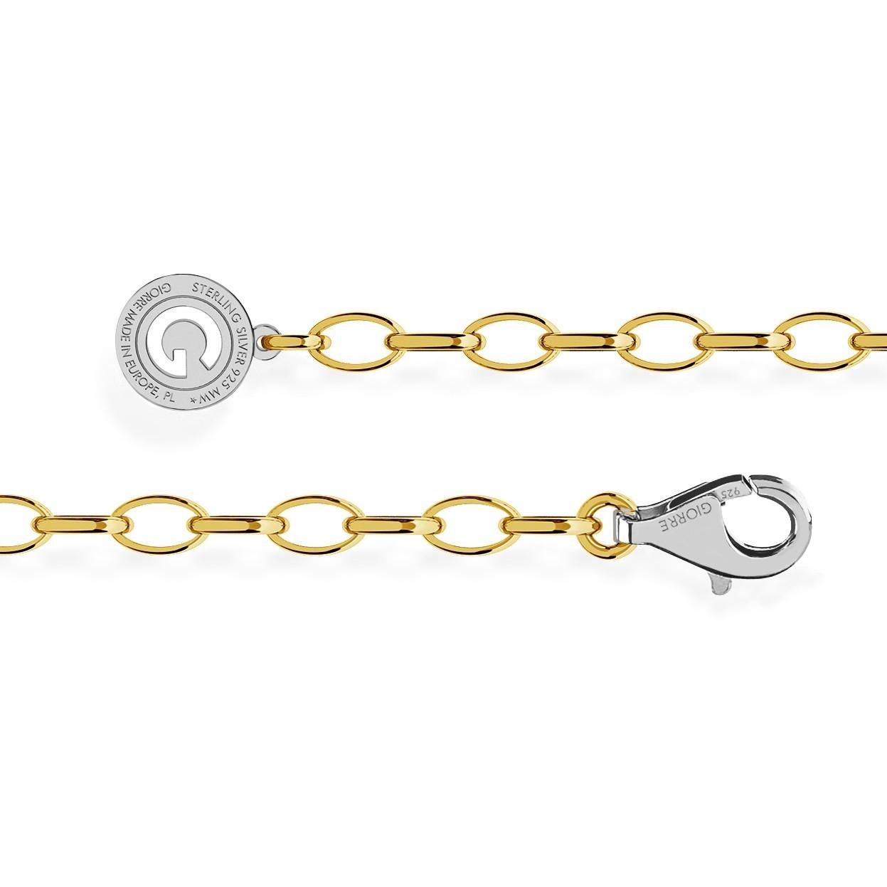 STERLING SILVER BRACELET 16-24 CM YELLOW GOLD, LIGHT RHODIUM CLASP, LINK 6X4 MM