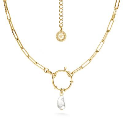 Srebrny choker z nieregularną perłą, srebro 925