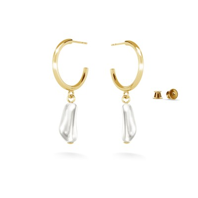 Hoop earrings with irregural pearl, sterling silver 925