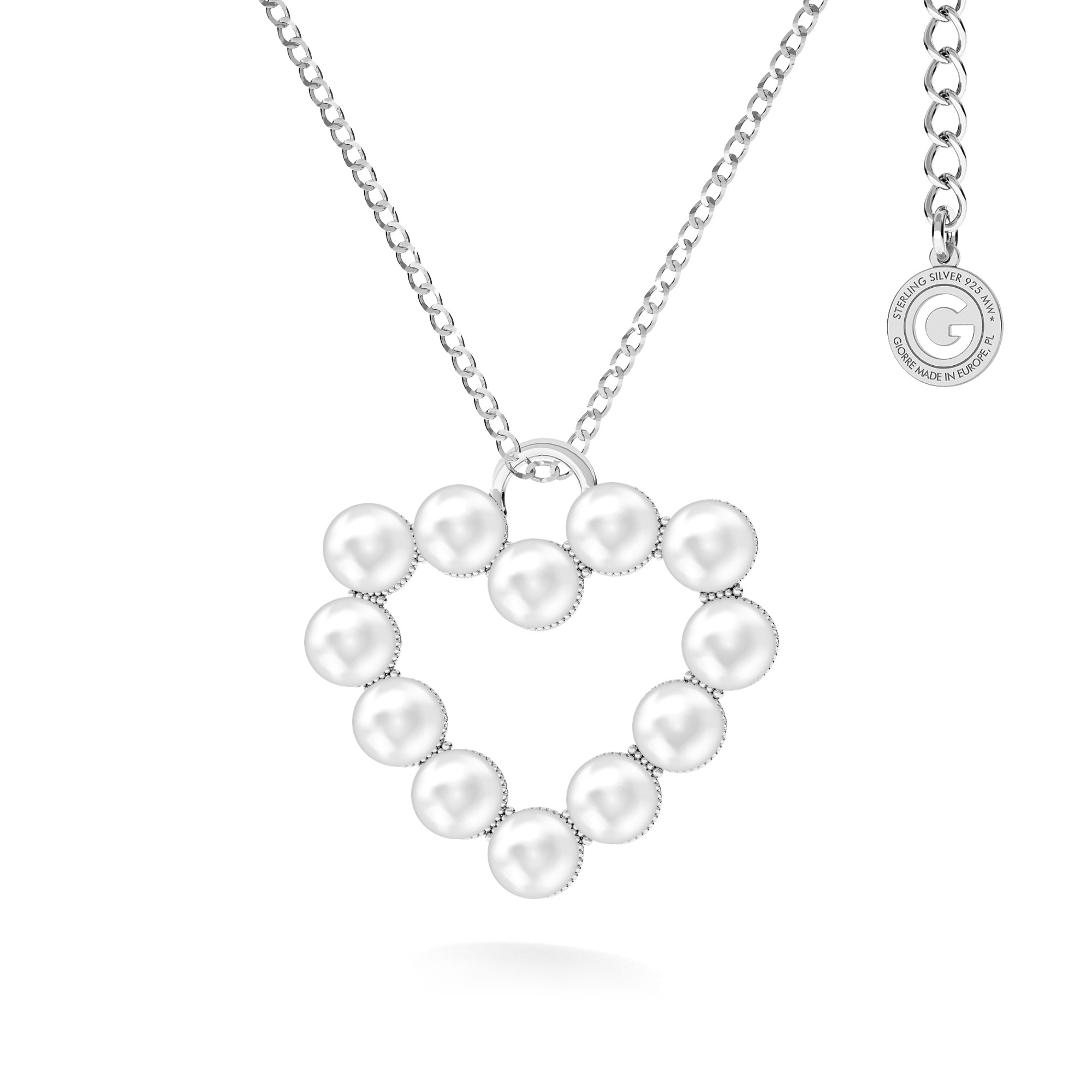 Naszyjnik serce z perłami, srebro 925 swarovski