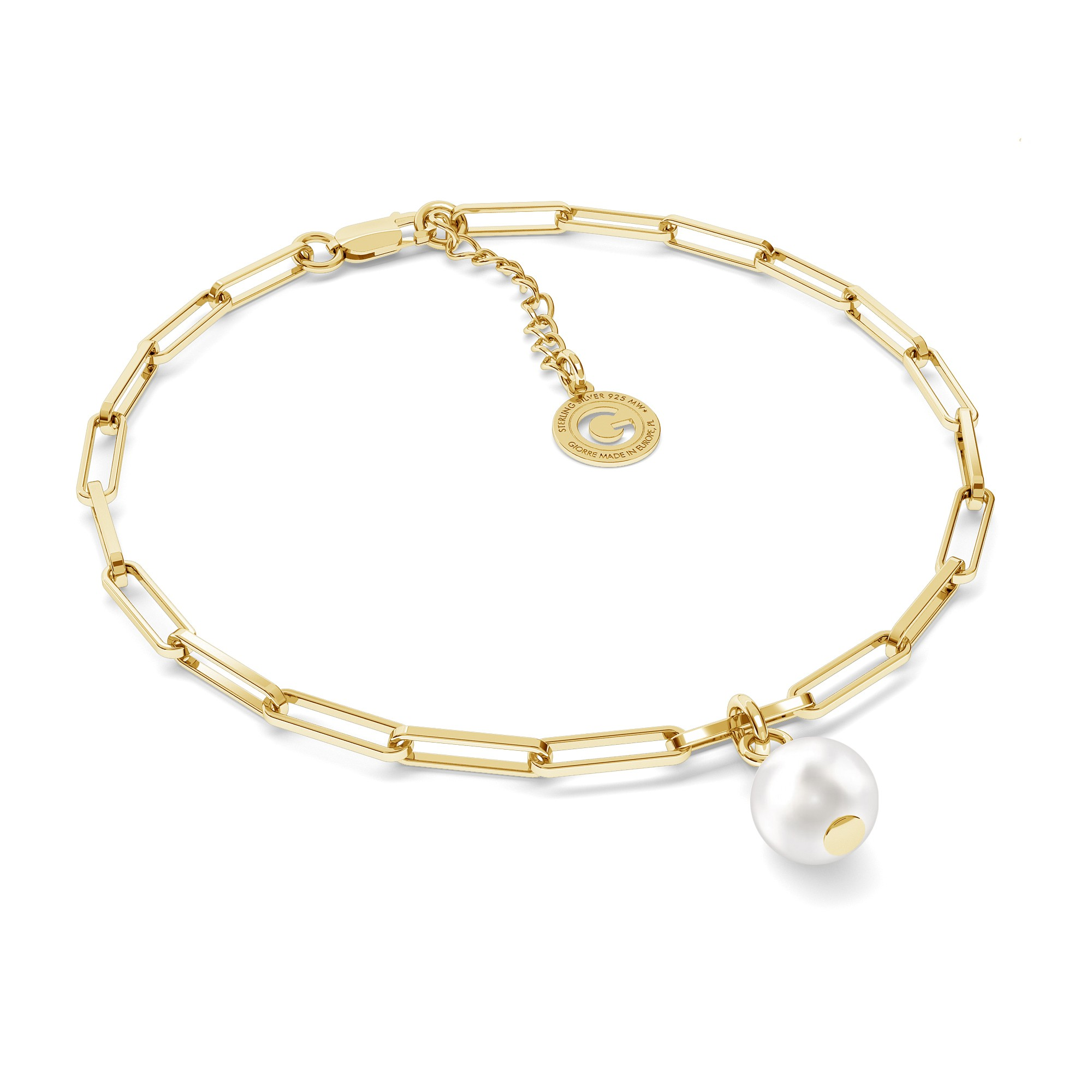 Necklace with regular round pearl, sterling silver 925