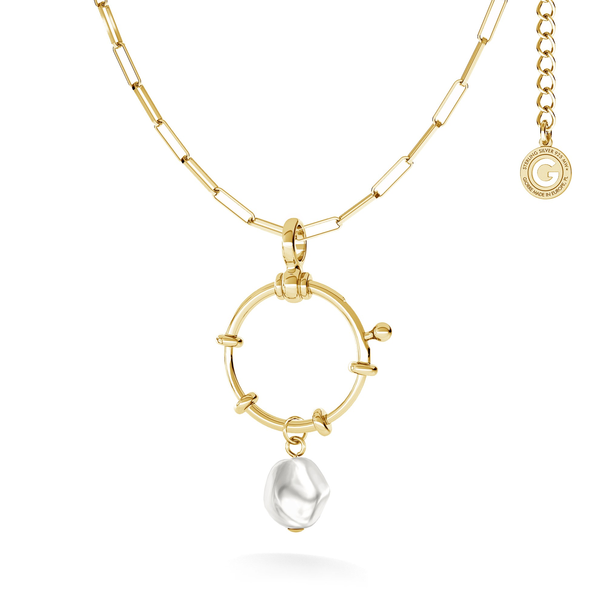 Srebrny naszyjnik ogniwkowy z nieregularną perłą, srebro 925