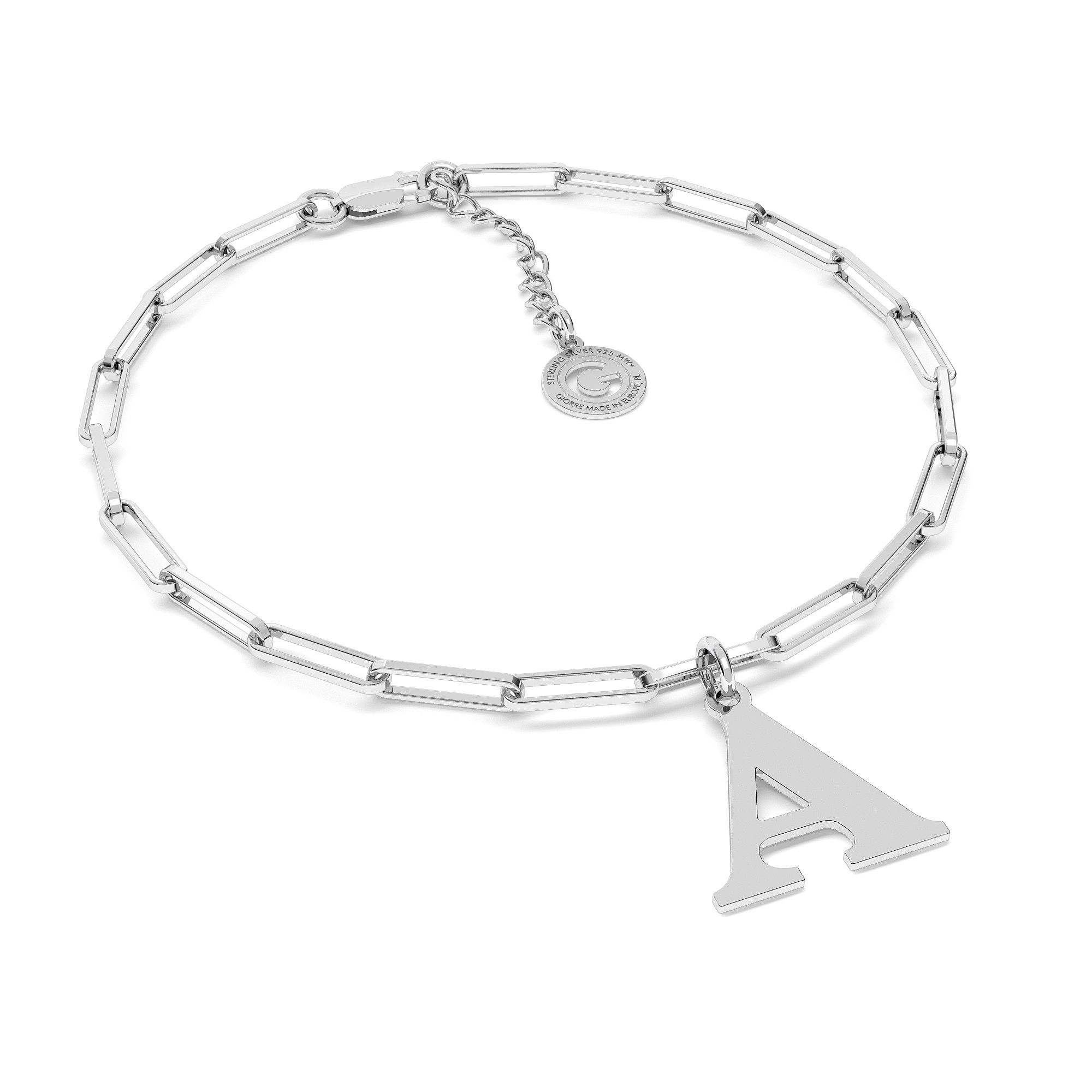 Bracelet with regular round pearl, sterling silver 925