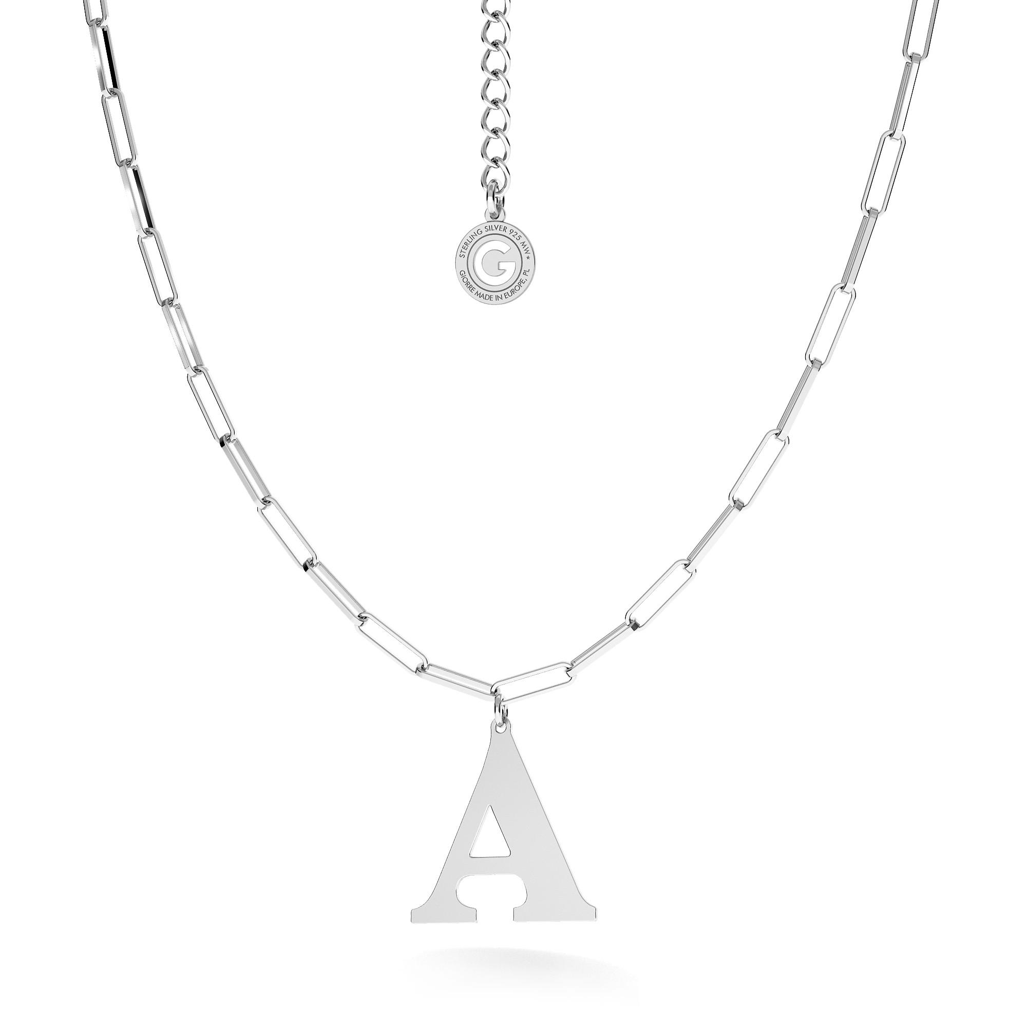 Srebrny naszyjnik z dużą literą, srebro 925