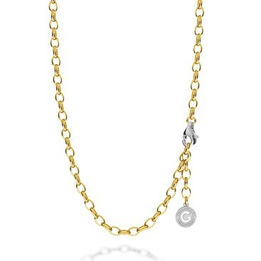 STERLING SILVER NECKLACE 55-65 CM YELLOW GOLD, LIGHT RHODIUM CLASP, LINK 7X5 MM