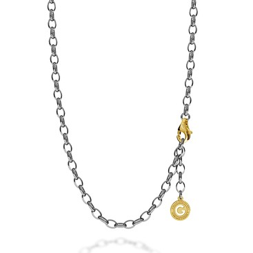 STERLING SILVER NECKLACE 55-65 CM BLACK RHODIUM, YELLOW GOLD CLASP, LINK 7X5 MM
