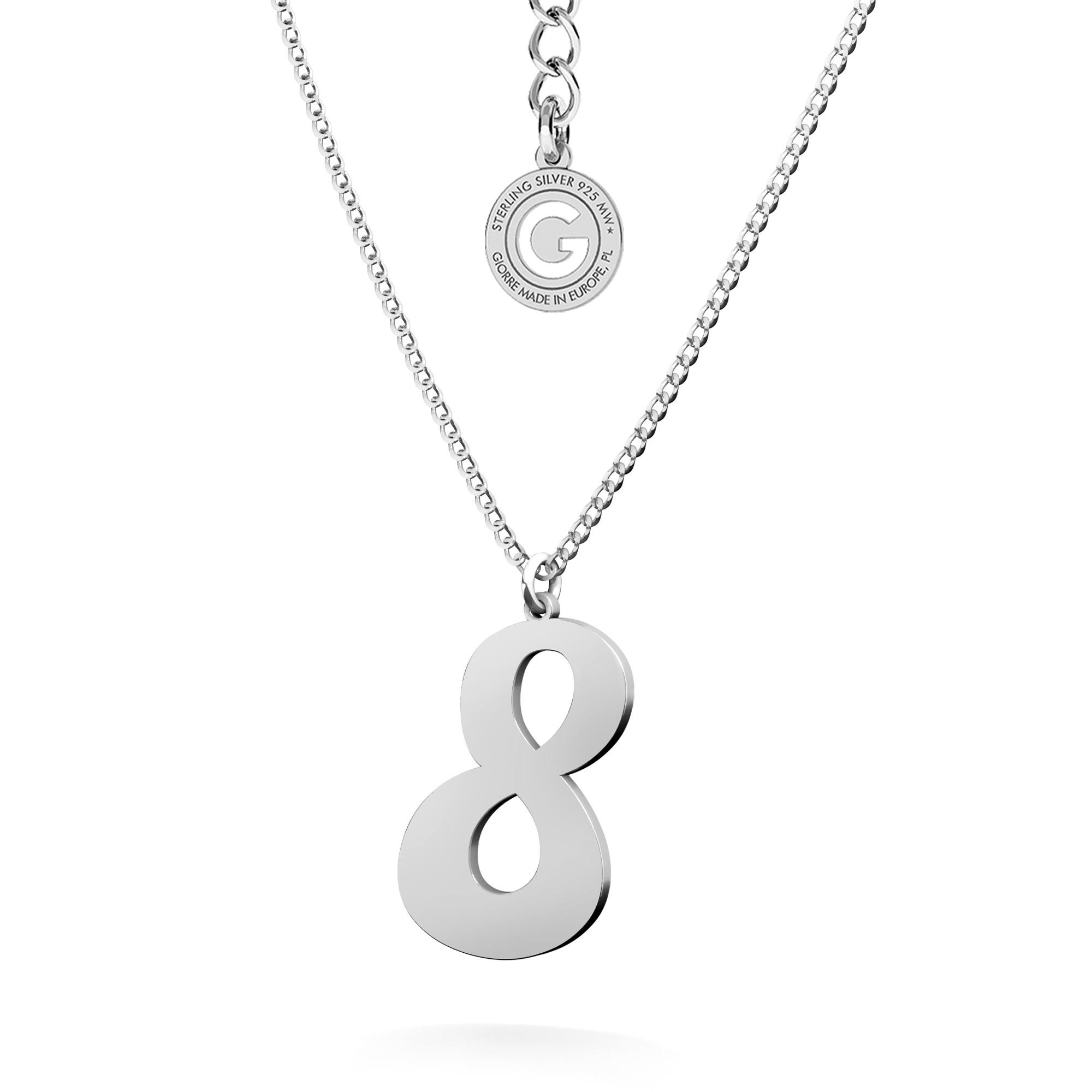 Srebrny naszyjnik z cyfrą, srebro 925