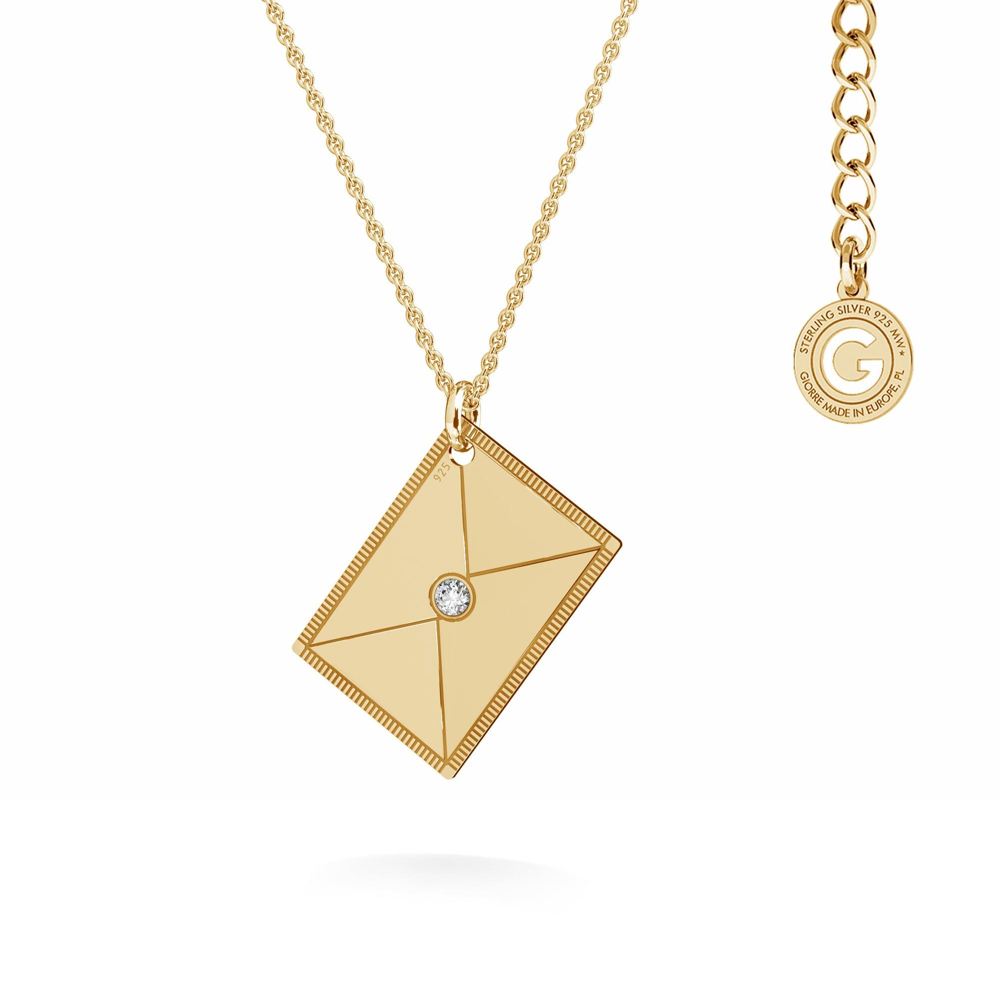Srebrny naszyjnik list z kryształem, srebro 925