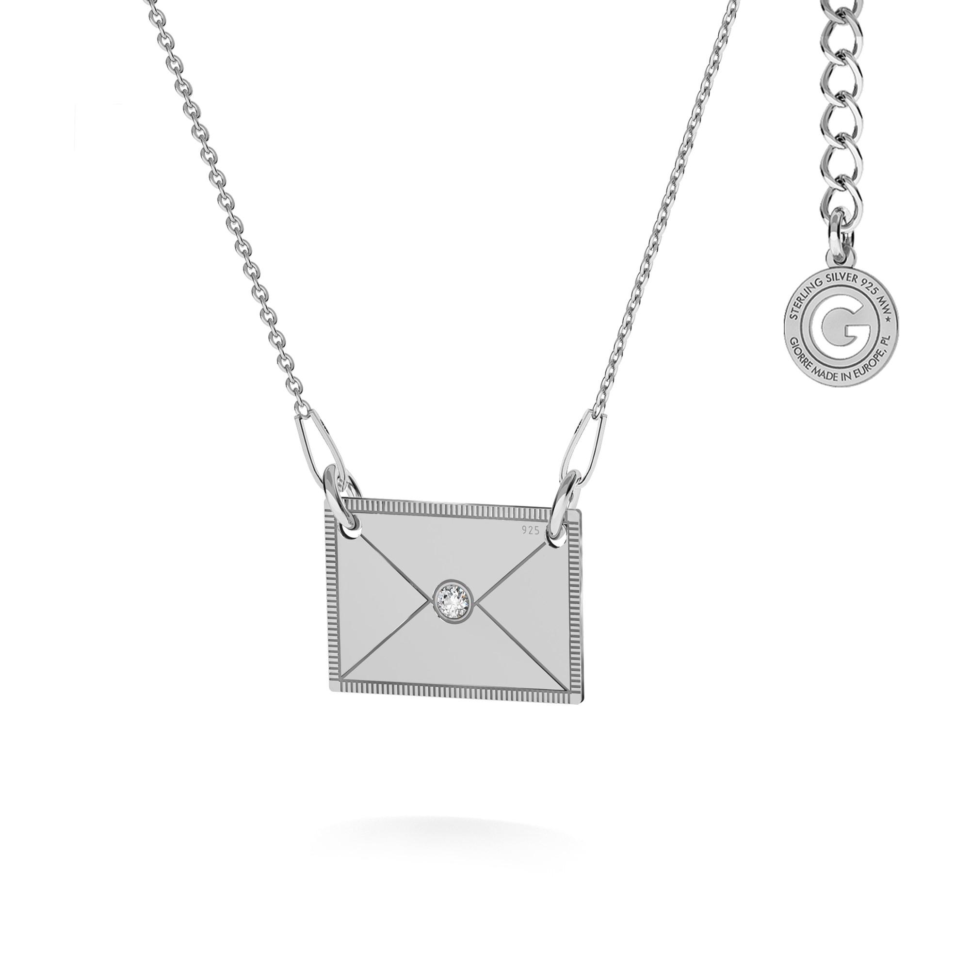 Srebrny naszyjnik koperta z kryształem, srebro 925