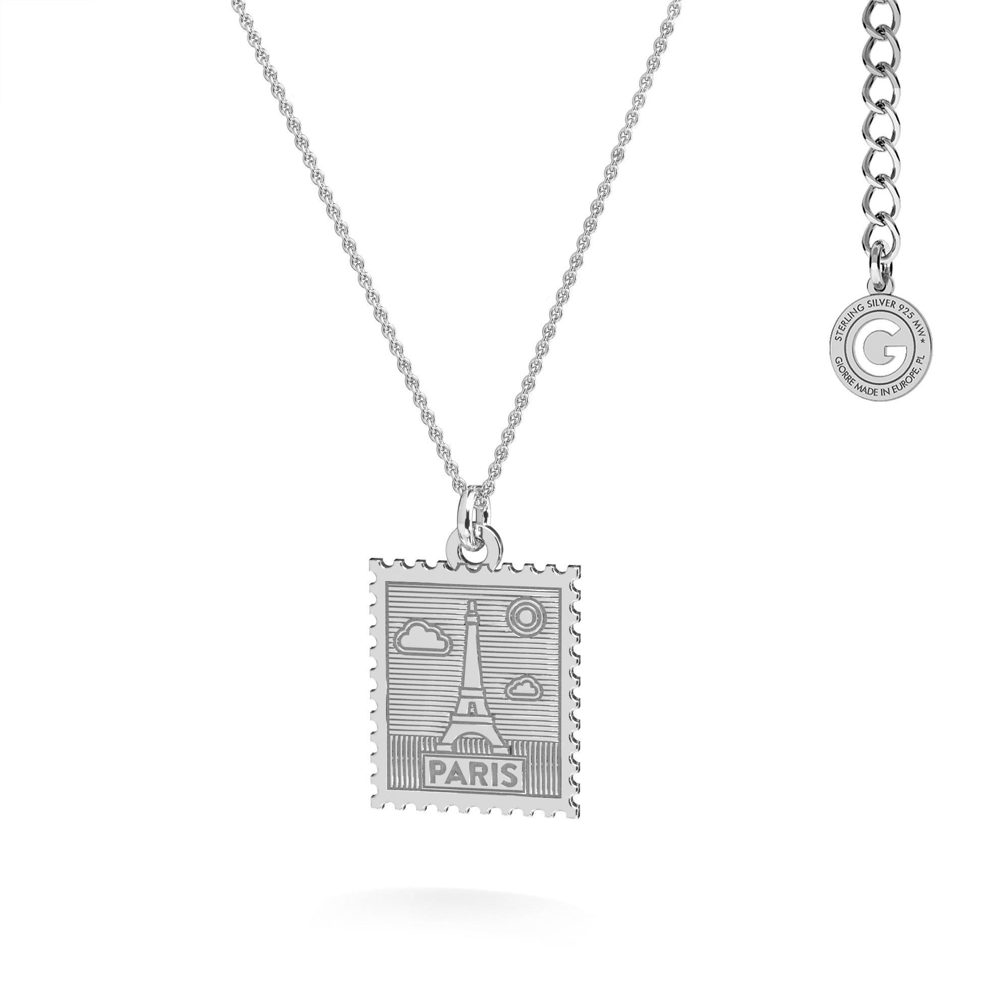 Srebrny naszyjnik znaczek pocztowy z Paryża, srebro 925
