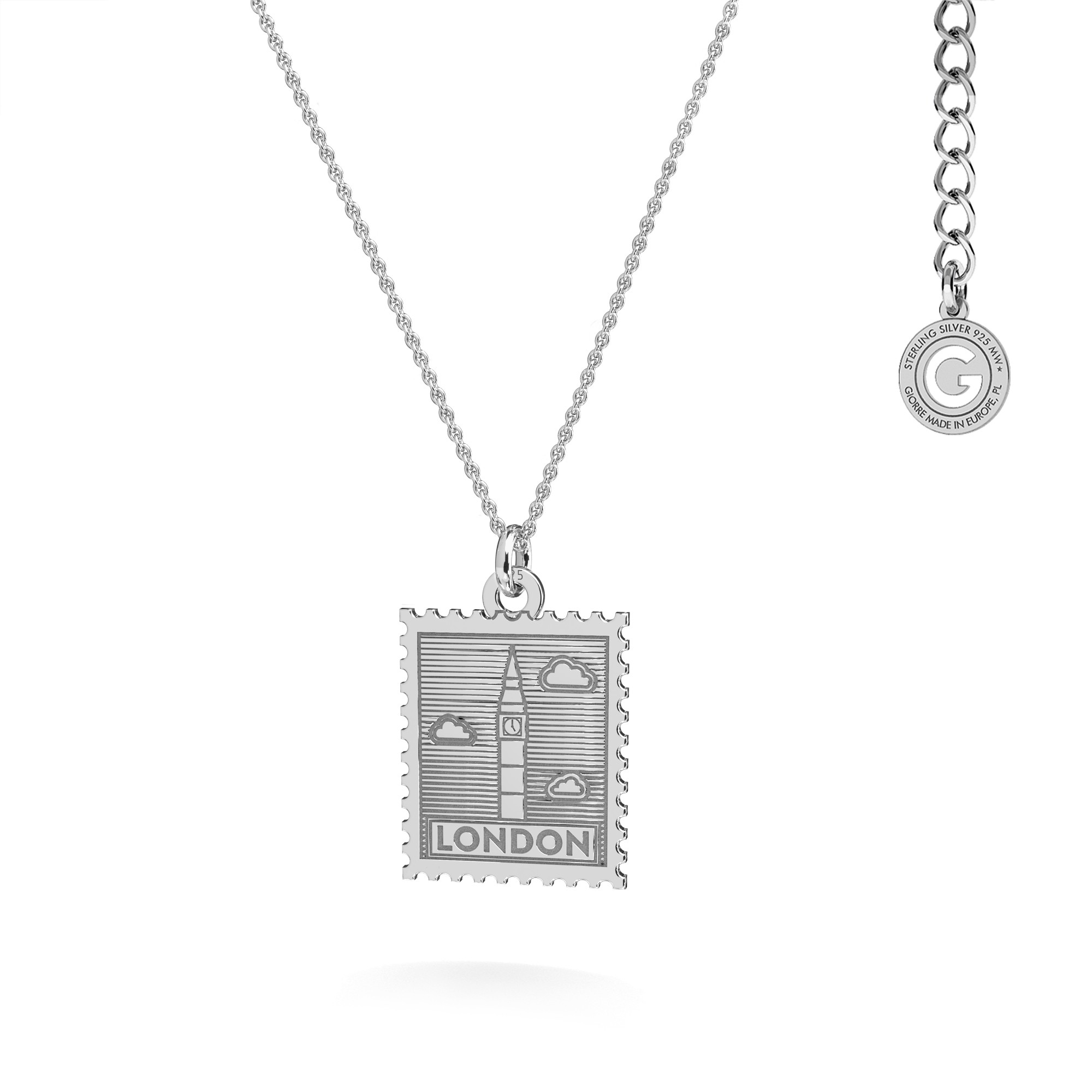 Srebrny naszyjnik znaczek pocztowy z Londynu, srebro 925