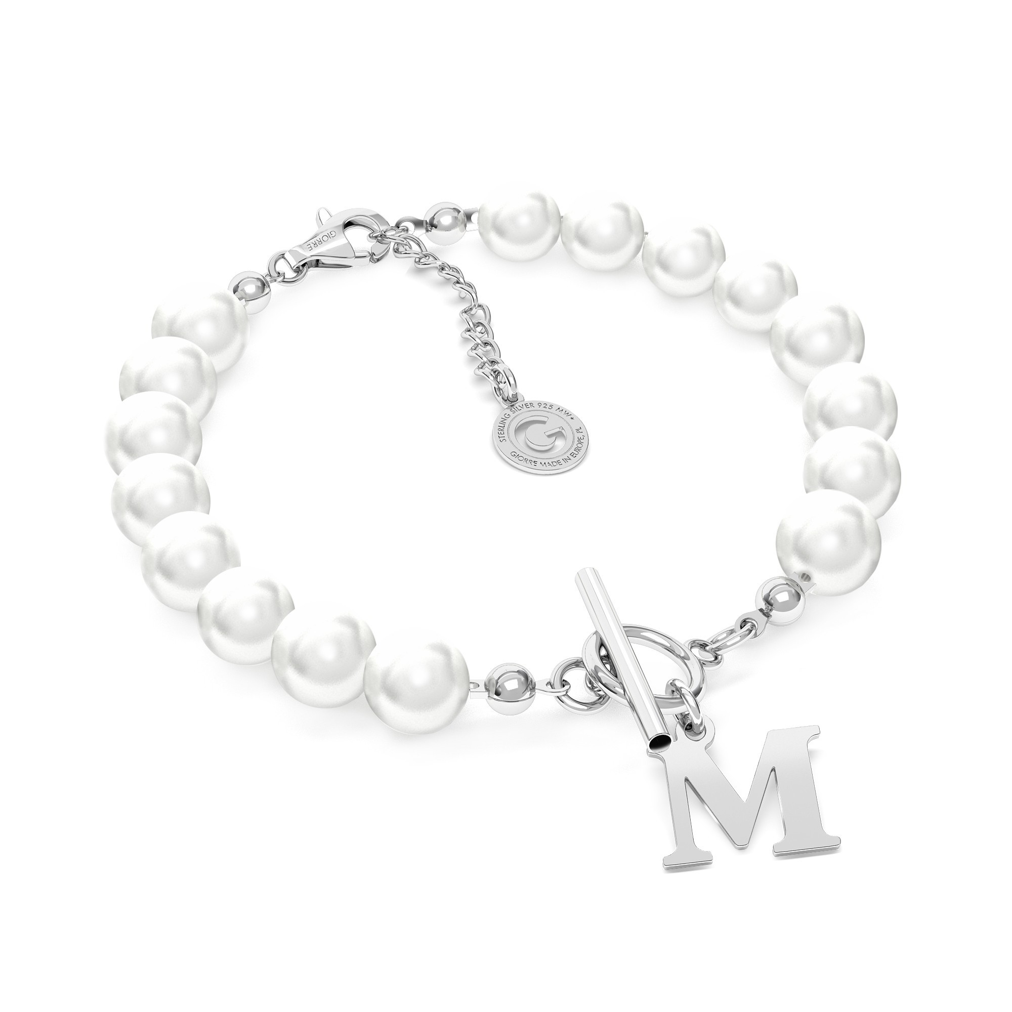Pearls choker with your letter, Silver 925