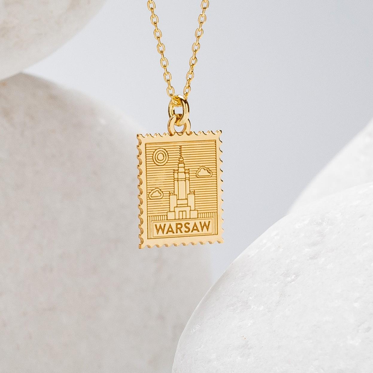 Srebrny naszyjnik znaczek pocztowy z Warszawy, srebro 925