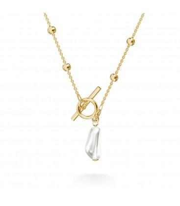 Srebrny kulkowy choker z podłużną perłą, srebro 925