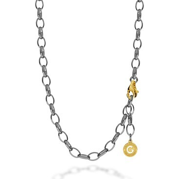 STERLING SILVER NECKLACE 55-65 CM BLACK RHODIUM, YELLOW GOLD CLASP, LINK 9X6,5 MM