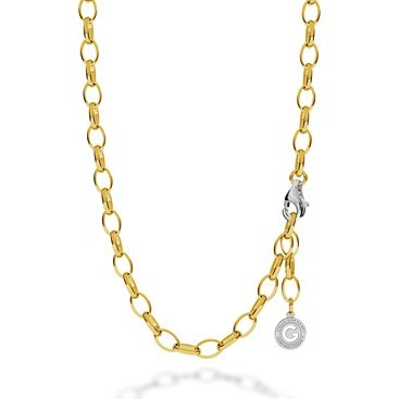 STERLING SILVER NECKLACE 55-65 CM YELLOW GOLD, LIGHT RHODIUM CLASP, LINK 9X6,5 MM