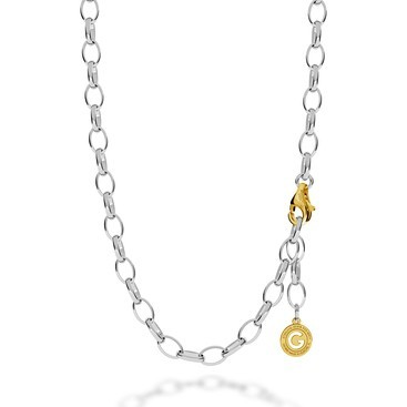 Sterling silver necklace 55-65 cm light rhodium, yellow gold clasp, link 9x6,5 mm