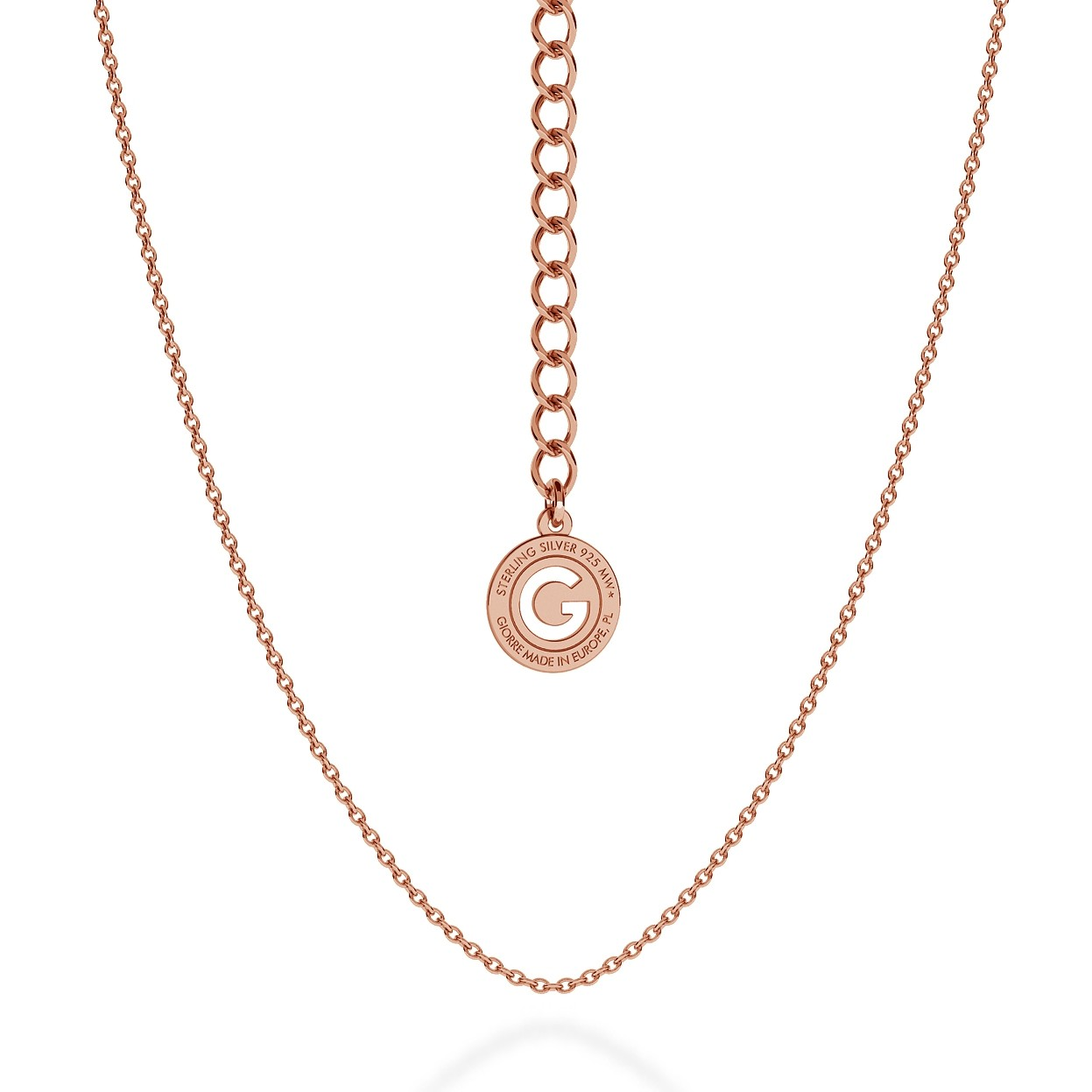 LIGHT SILVER NECKLACE 55 CM, GOLD PLATED (PINK GOLD)