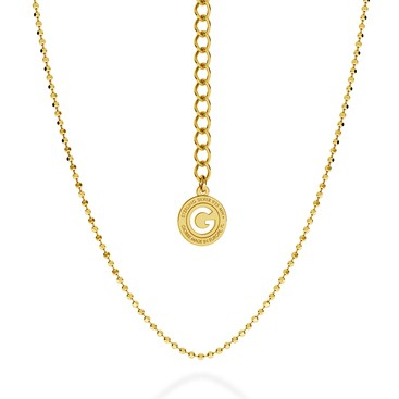 SILVER NECKLACE WITH BALLS 55 CM, GOLD PLATED (YELLOW GOLD)