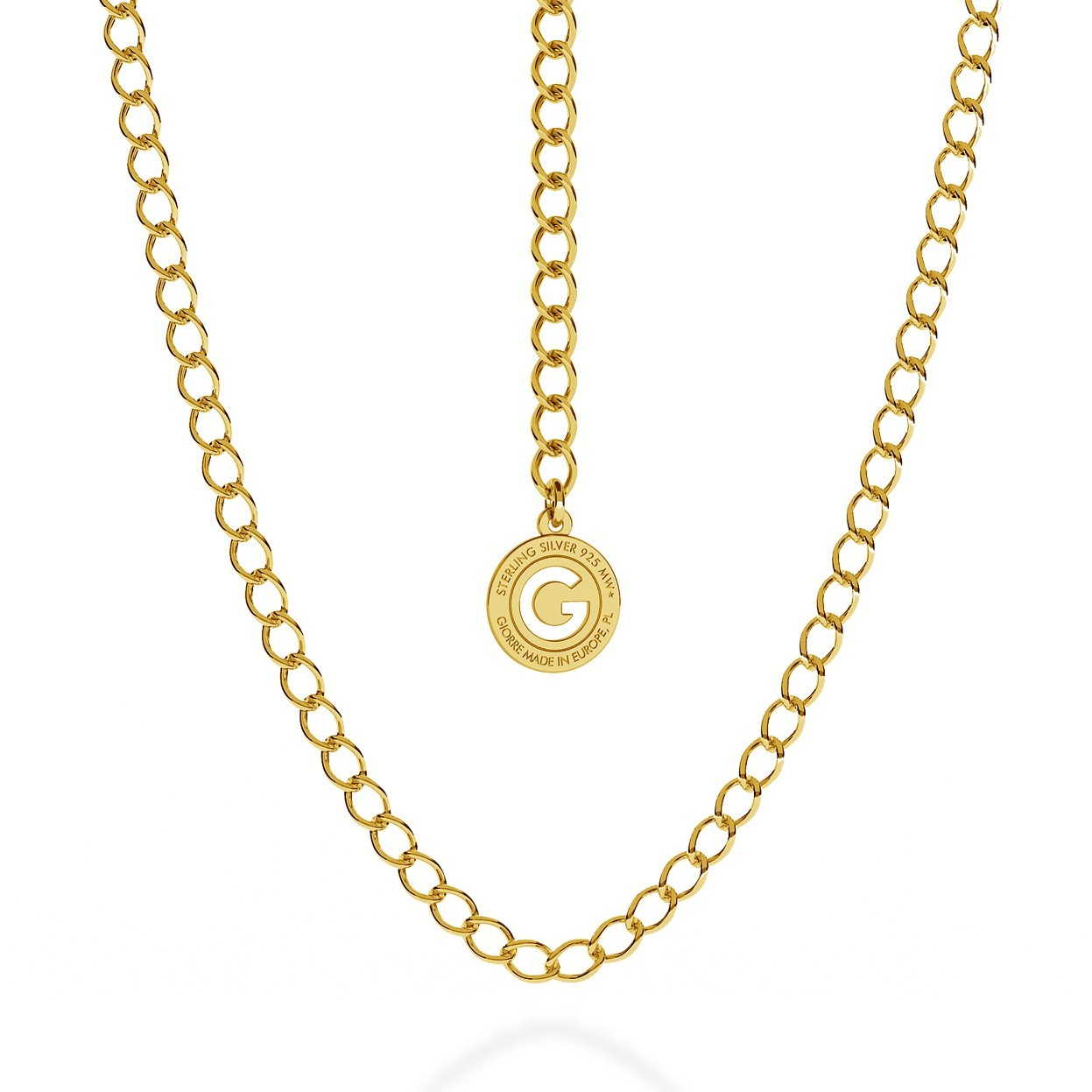 SILVER NECKLACE ROMBO 55 CM, GOLD PLATED (YELLOW GOLD)