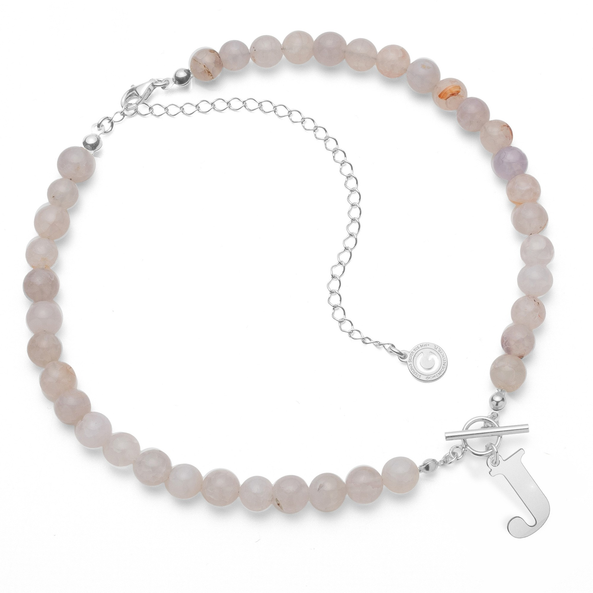 White natural stones agate choker with letter, Silver 925