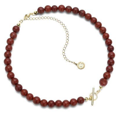 Red natural stones choker, charms base, Silver 925