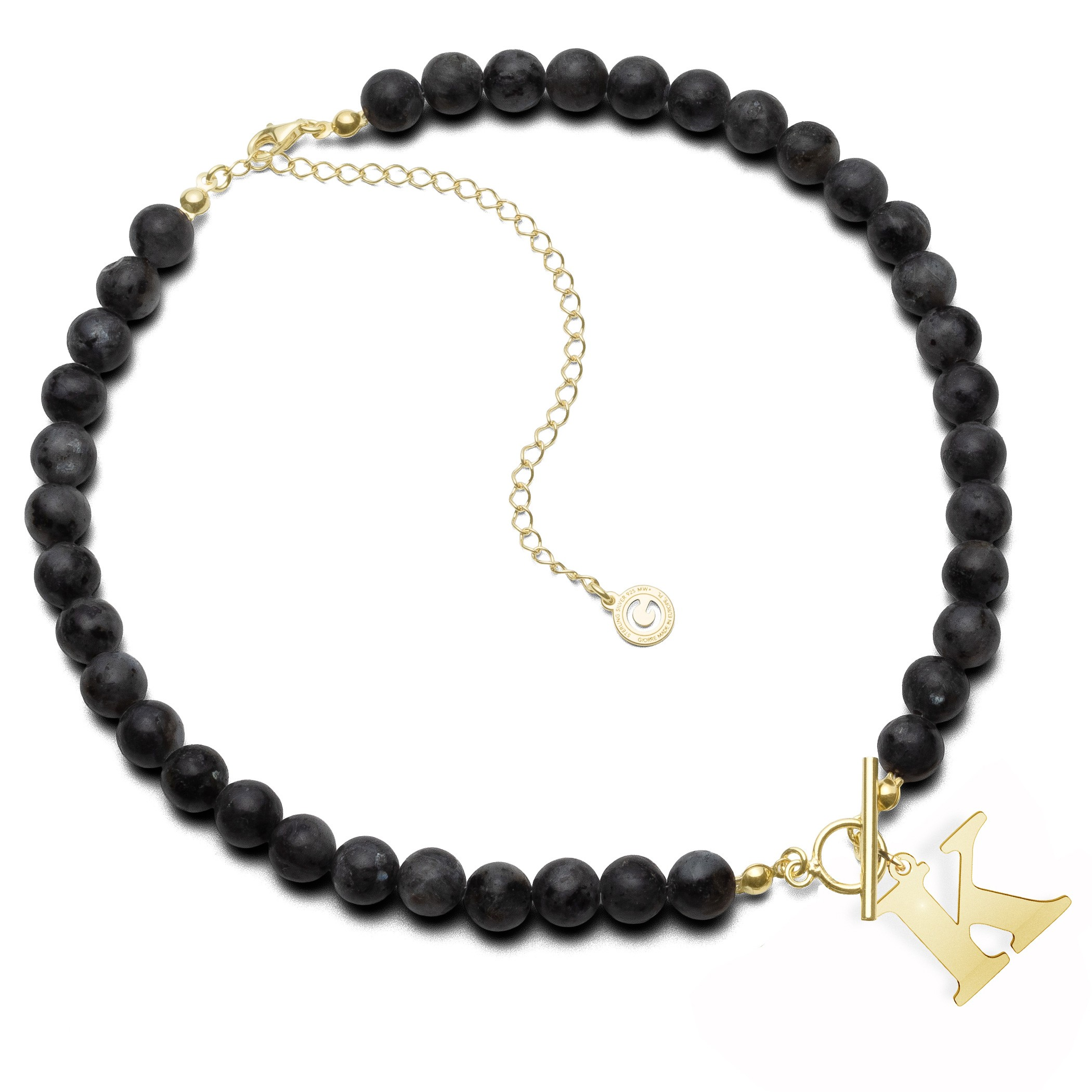 Black natural stones larvikit stones choker with letter, Silver 925