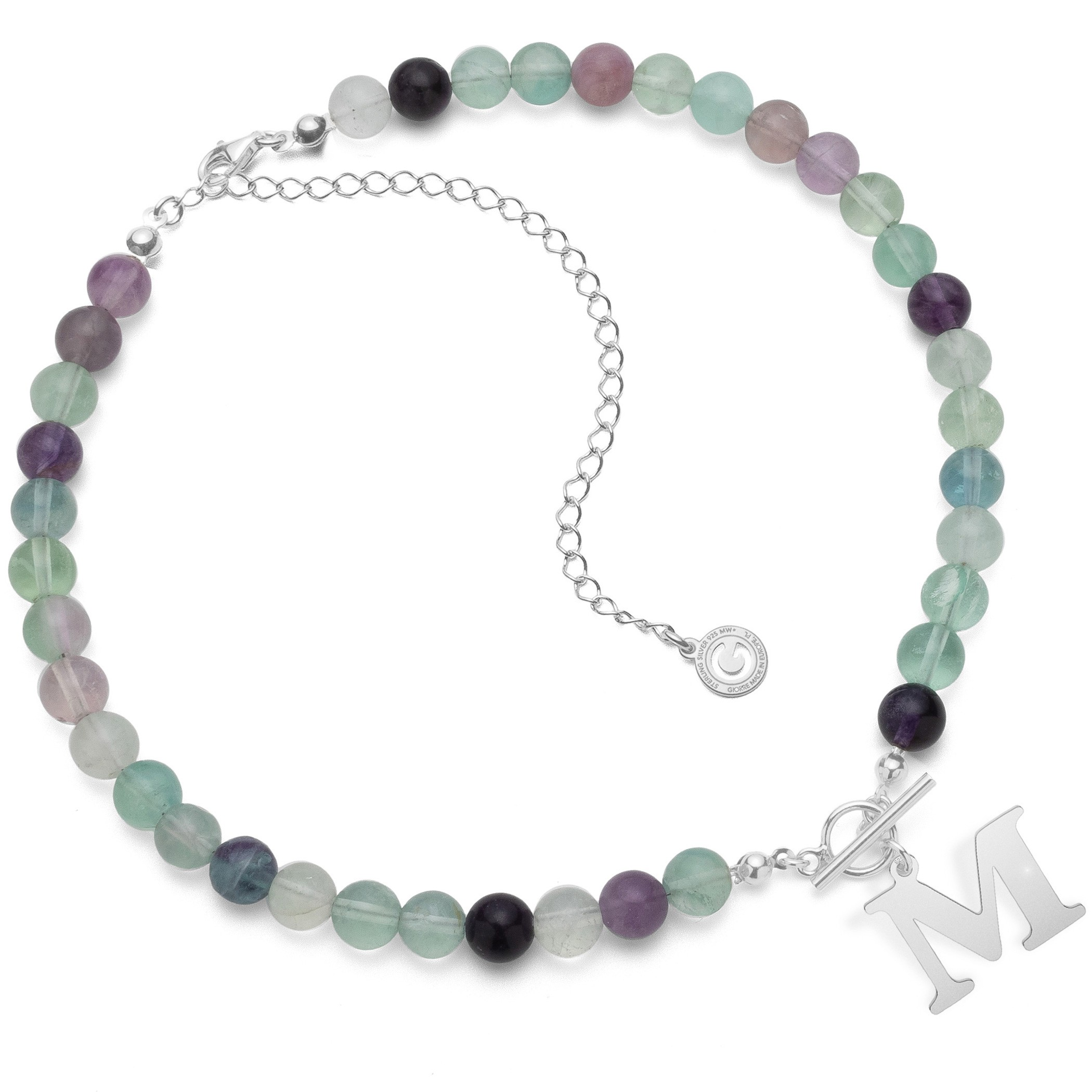 Choker, natural stones fluorite with letter, Silver 925