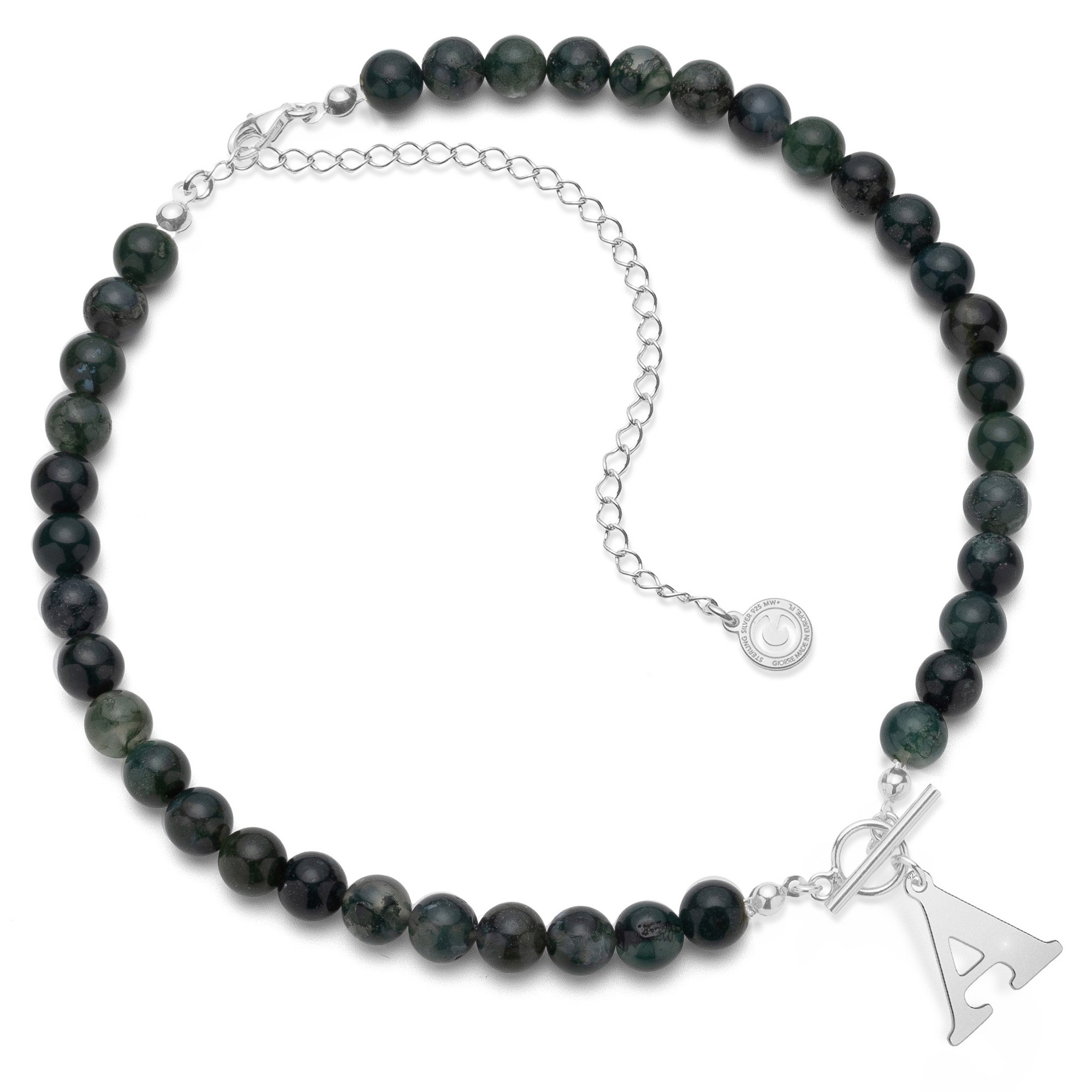 Dark green natural stones agate choker with letter, Silver 925