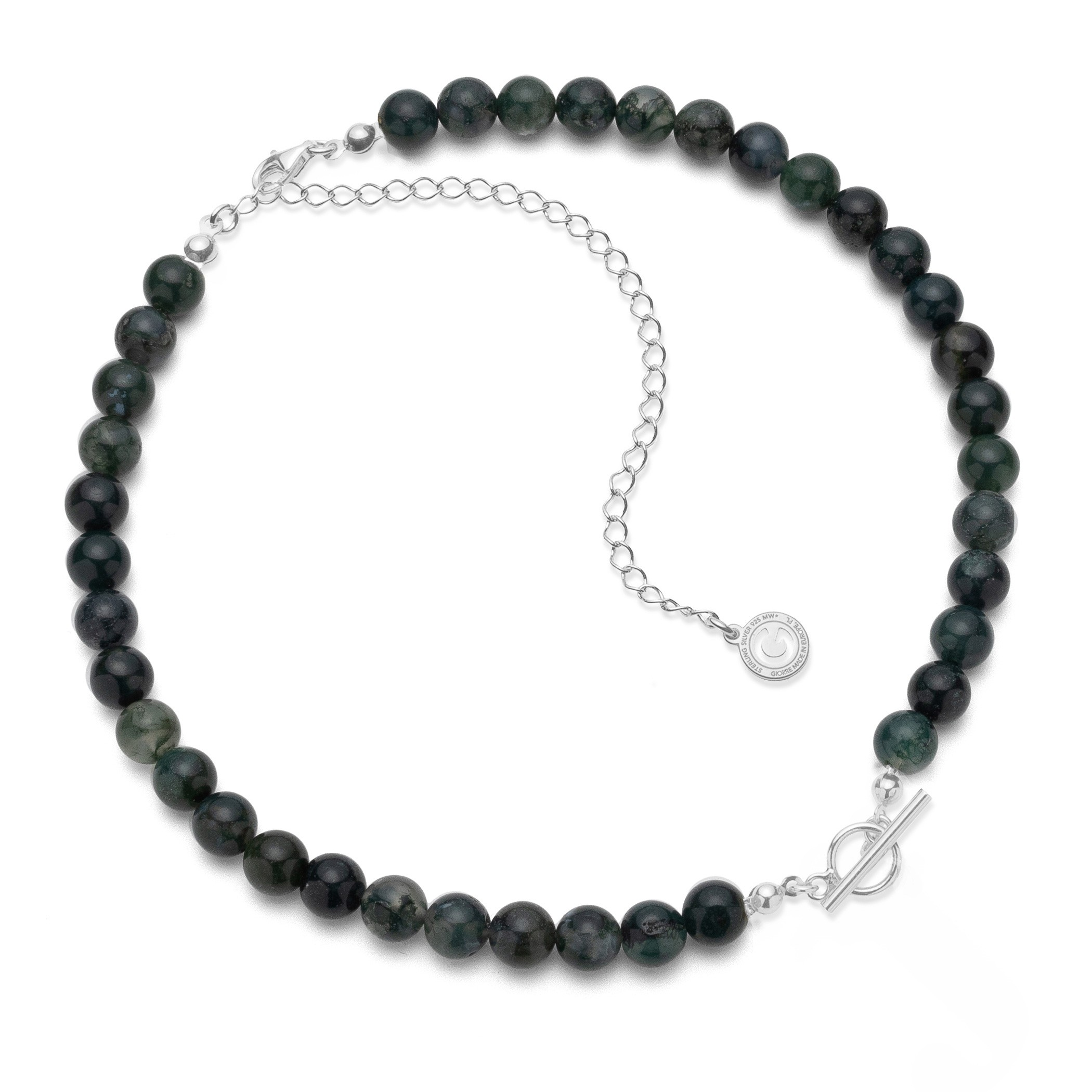 Choker with white dark natural stones green agate, charms base, Silver 925